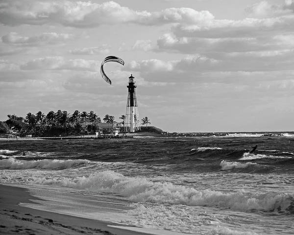 Photograph -  Pompano Beach Kiteboarder Hillsboro Lighthouse Waves Black And White by Toby McGuire