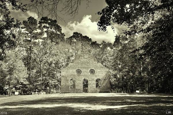 Photograph - Pon Pon Chapel Of Ease Jacksonboro South Carolina Black And White by Lisa Wooten