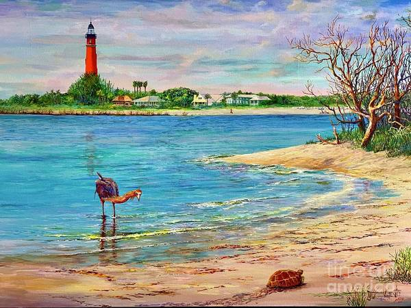 Wall Art - Painting - Ponce Inlet Lighthouse by AnnaJo Vahle