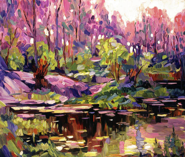 Painting - Pond At Sunset - Plein Aire by David Lloyd Glover
