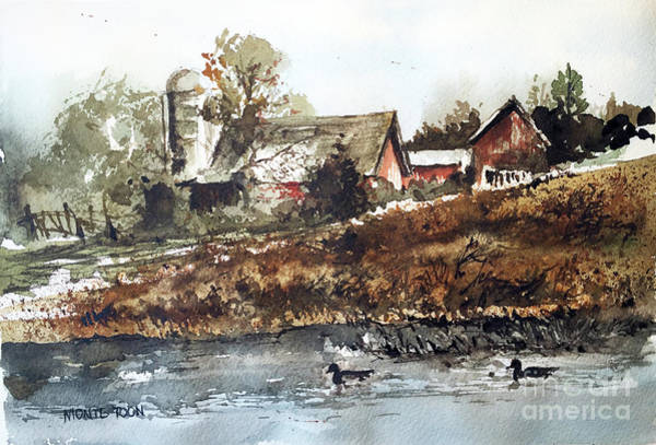 Painting - Pond Ducks by Monte Toon