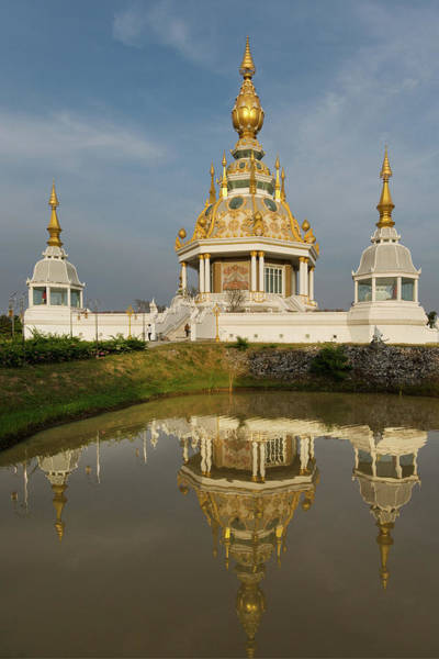 Wall Art - Photograph - Pond In Front Of Maha Rattana Chedi Of Wat Thung Setthi Reflection Khon Kaen Isan Thailand by imageBROKER - Foto Beck