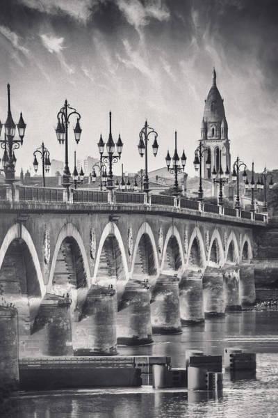 Wall Art - Photograph - Pont De Pierre Bordeaux France Black And White by Carol Japp