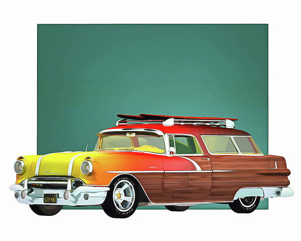 Digital Art - Pontiac Safari Surfer Edition by Jan Keteleer