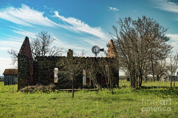 Texas Bluebonnet Digital Art - Pontotoc House Ruins by Elijah Knight