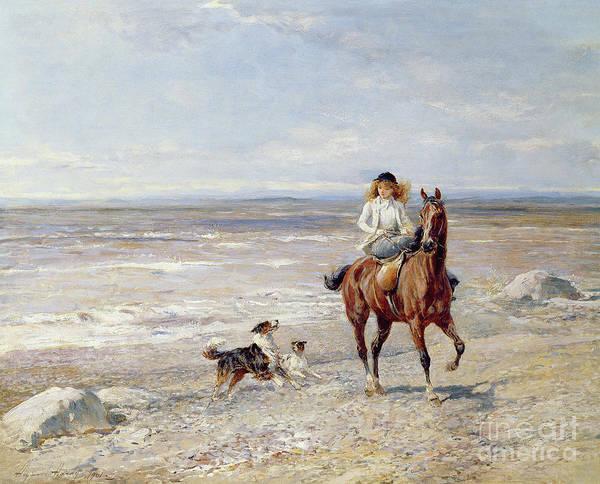 Beachy Painting - Pony Ride On The Beach by Heywood Hardy