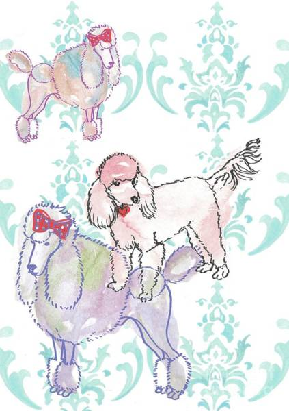 Canine Mixed Media - Poodles by Anna Platts