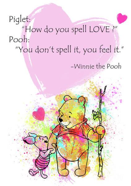 Disney Digital Art - Pooh -  Spell Love... by Prar Kulasekara