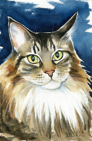 Painting - Pookie Maine Coon Portrait by Dora Hathazi Mendes