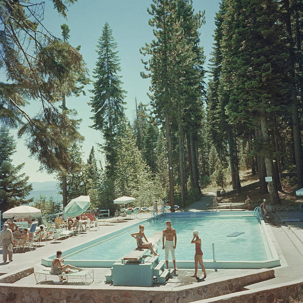 Parasol Photograph - Pool At Lake Tahoe by Slim Aarons
