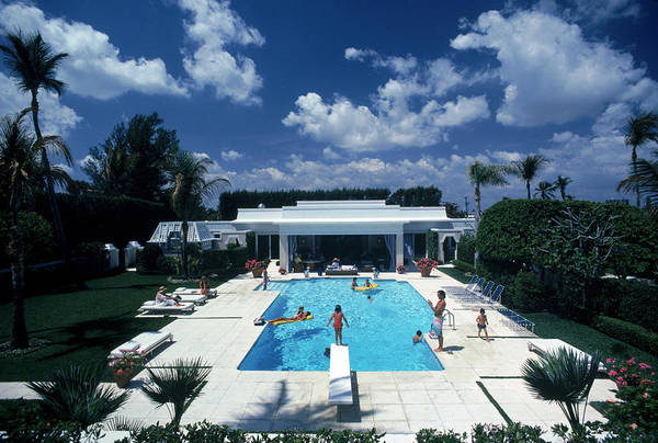 Horizontal Photograph - Pool In Palm Beach by Slim Aarons