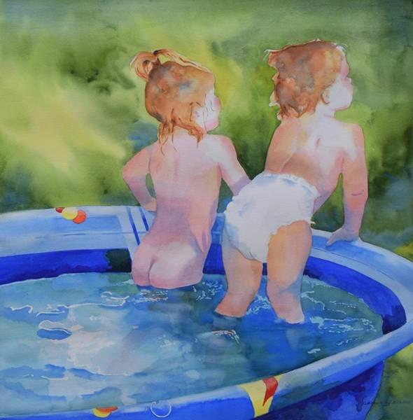 Kiddie Pool Painting - Pool Nymphs by Celene Terry