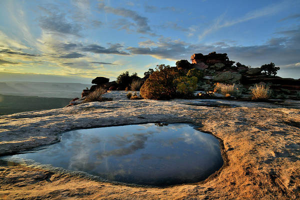 Photograph - Pool Reflection At Orange Cliffs In Canyonlands by Ray Mathis