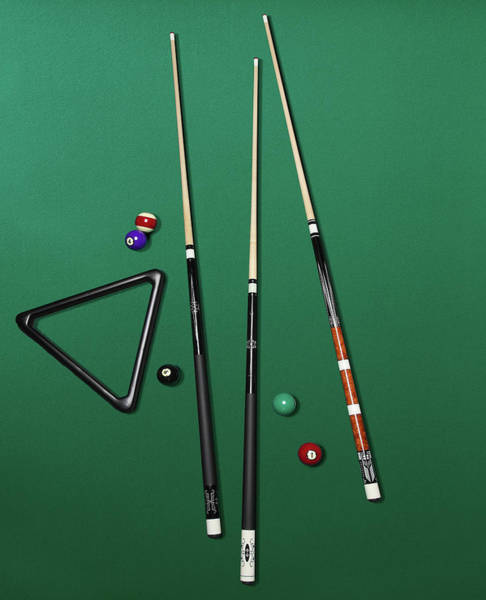 Pool Table Photograph - Pool Table Set Up by Brian Klutch