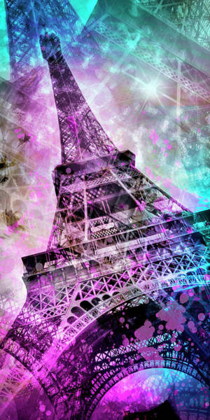 Wall Art - Photograph - Pop Art Eiffel Tower - Panorama by Melanie Viola