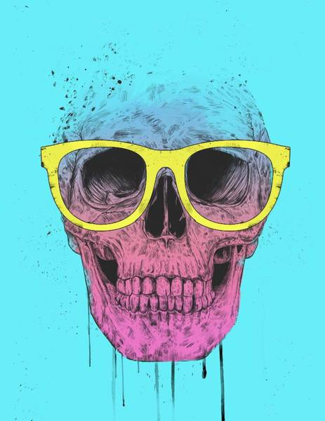 Wall Art - Mixed Media - Pop Art Skull With Glasses by Balazs Solti