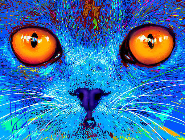 Painting - pOpCat Boe - Big Orange Eyes by DC Langer
