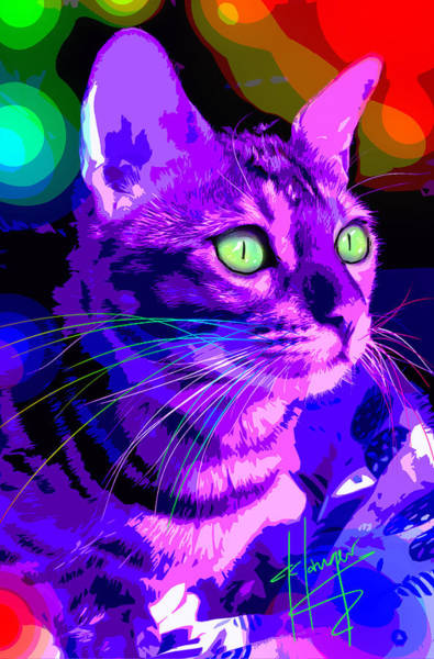 Painting - pOpCat Purple Hazel by DC Langer