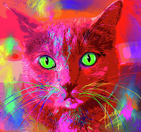Wall Art - Painting - pOpCat Gracie by DC Langer
