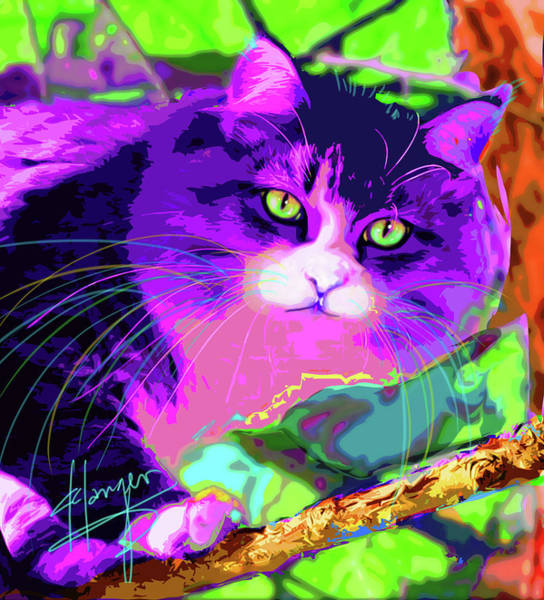 Painting - pOpCat Kitty in a Tree by DC Langer