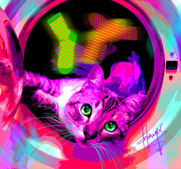 Painting - pOpCat Laundry Cat by DC Langer