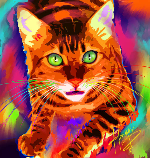 Painting - pOpCat Neon Leon by DC Langer