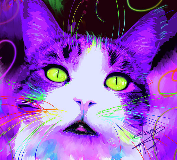 Painting - pOpCat Petunia by DC Langer
