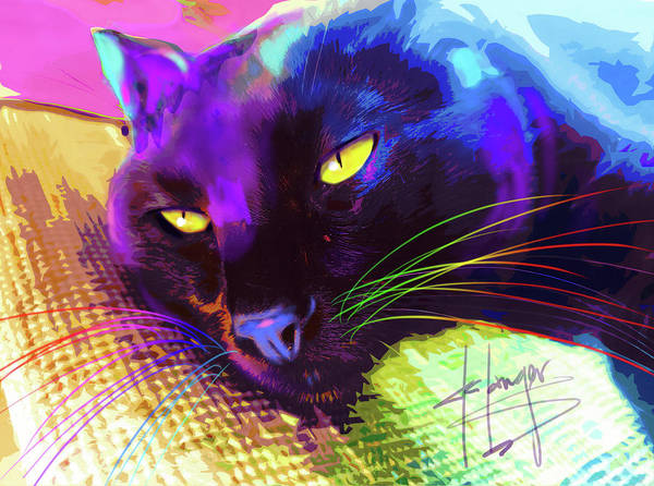 Painting - pOpCat Relaxed Jax by DC Langer