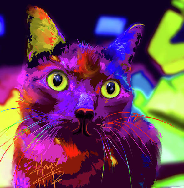 Painting - pOpCat Walter Becker by DC Langer
