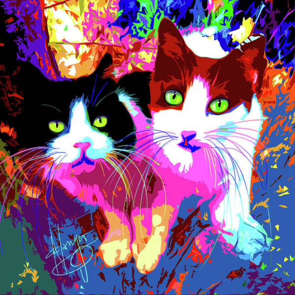 Painting - pOpCats Bonnie and Clyde by DC Langer