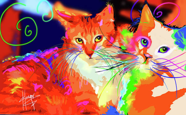 Painting - pOpCats Goldie and son Pitzel by DC Langer