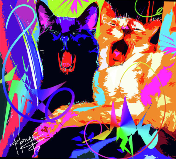 Painting - pOpCats Kona and Bo by DC Langer