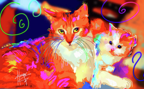 Painting - pOpCats Mama Goldie and her son Pitzel by DC Langer