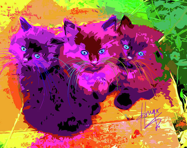 Painting - pOpCats The Three MusCATteers by DC Langer