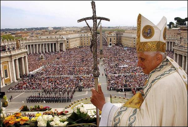 Pilgrimage Wall Art - Photograph - Pope Benedict Xvi Celebrated His First by Eric Vandeville
