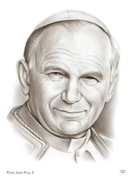 Wall Art - Drawing - Pope John Paul II by Greg Joens