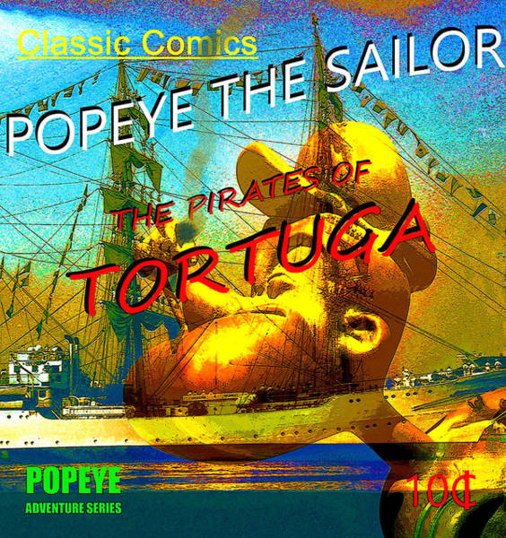 Wall Art - Mixed Media - Popeye And The Pirates Of Tortuga Comic Book Cover Art by David Lee Thompson