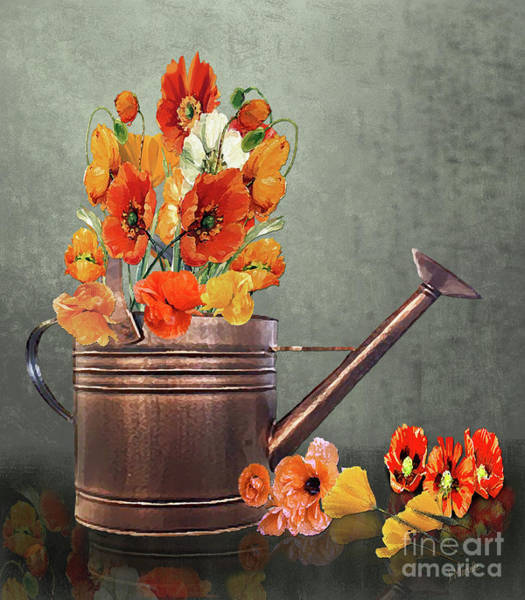 Wild Poppies Digital Art - Poppies And Copper Watering Can by J Marielle