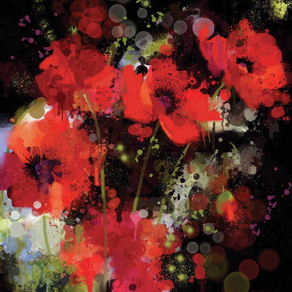 Wall Art - Digital Art - Poppies by A.v. Art
