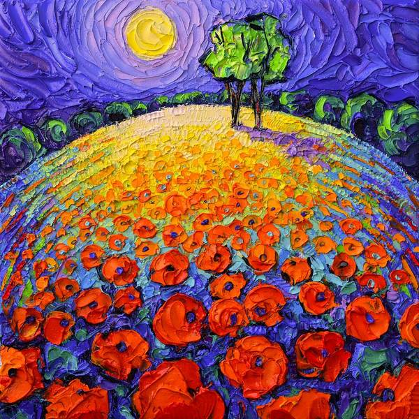 Painting - Poppies Roundscape Fairy Night Textural Impressionist Impasto Knife Oil Painting Ana Maria Edulescu by Ana Maria Edulescu