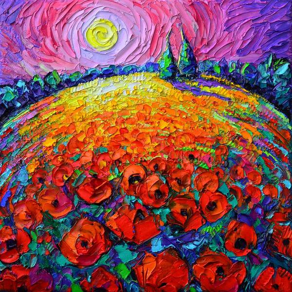 Painting - Poppies Roundscape Mystic Night Textural Impressionist Impasto Knife Oil Painting Ana Maria Edulescu by Ana Maria Edulescu