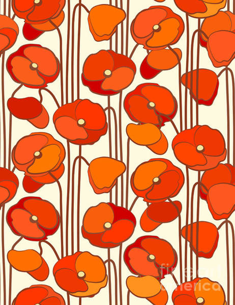Wall Art - Digital Art - Poppies. Seamless Background by Isveta