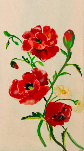 Poppie Painting - Poppies  by Sorys Acevedo
