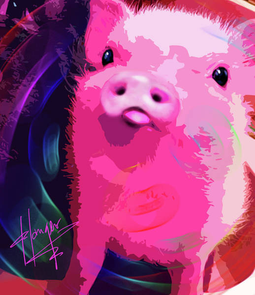 Painting - pOpPiggy Pig Newton by DC Langer