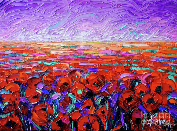 Wall Art - Painting - Poppy Field Beneath The Purple Skies Palette Knife Impasto Oil Painting Mona Edulesco by Mona Edulesco