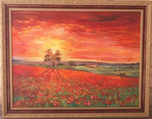 Wall Art - Painting - Poppy Field by Kateryna Kostiuk-Shostka
