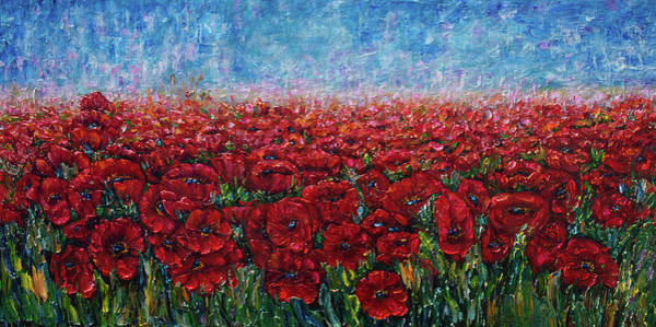 Photograph - Poppy Field Palette Knife Painting By Olena Art  by OLena Art - Lena Owens