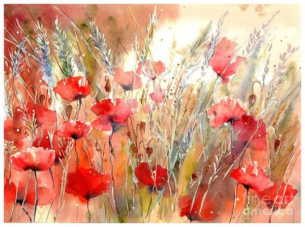 Maine Painting - Poppy Fields Forever by Suzann's Art