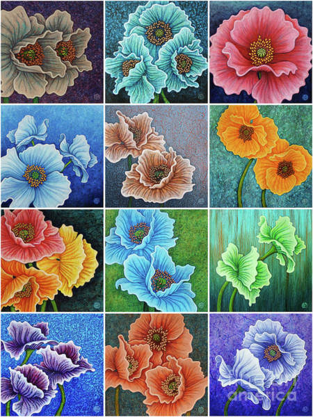 Painting - Poppy Painting Tiles X 12 Cool Tones by Amy E Fraser