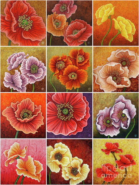 Painting - Poppy Painting Tiles X 12 Warm Tones by Amy E Fraser